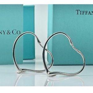 Tiffany Elsa Peretti open heart hoop earrings EUC